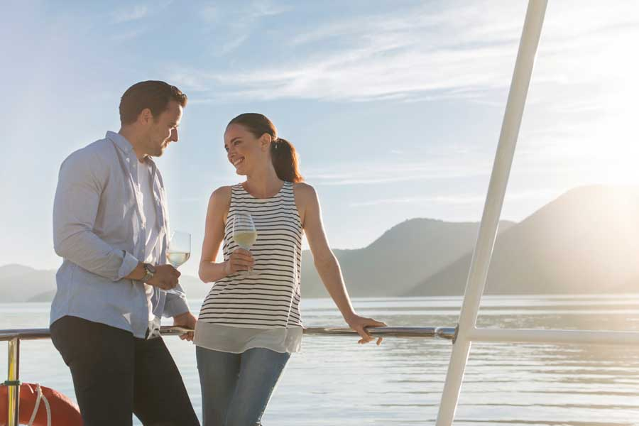 romantic cruise on Queen Charlotte Sound in the Marlborough Sounds New Zealand